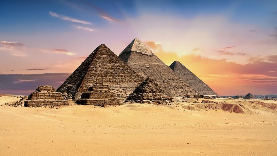 Sun-bathed Giza Pyramids
